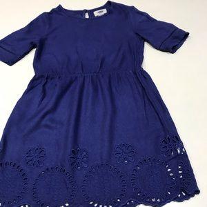 Cute Girl's Navy Blue Rayon/Viscose Dress, 5